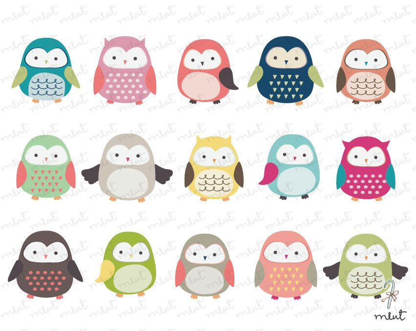 Cute Owl Clip art - 15 Digital Owl Clipart Set for Scrapbooking ...