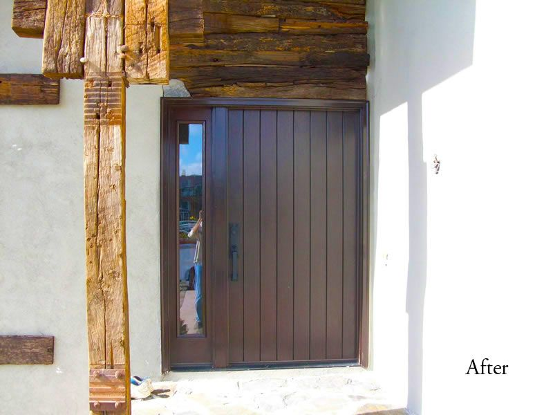 42 Inch Rustic Style Door With Sidelight Entry Doors