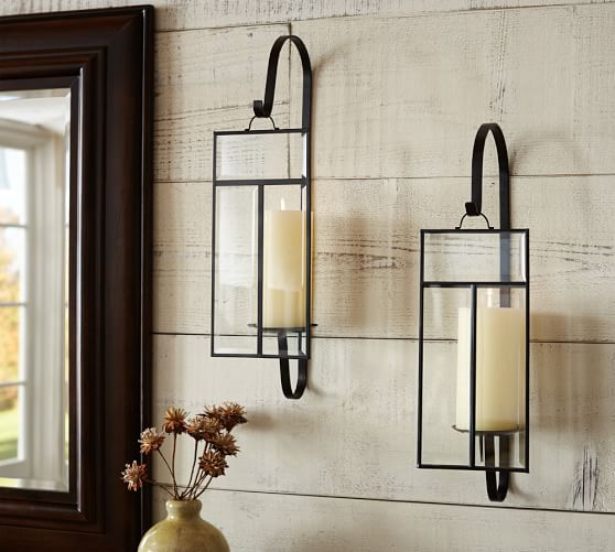 Paned Glass Wall Candle Sconce In 2019 Candle Wall Sconces