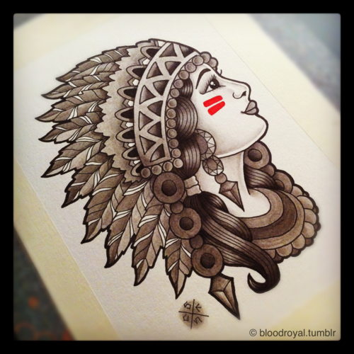 e53fcbe31 native american skull and headress | ... of traditional tattoo indian native  american girl