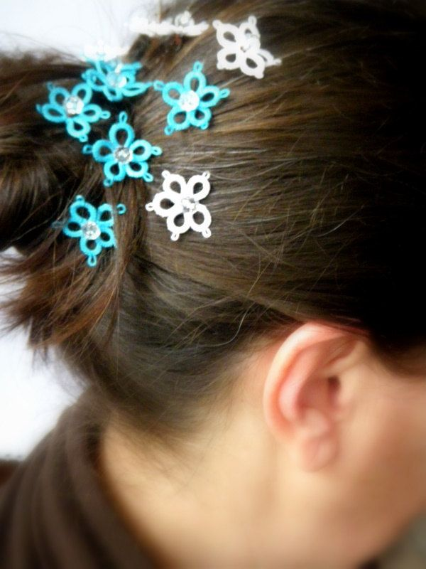 Bridal  Hair Pins - 6 Handtatted Lace hairpins
