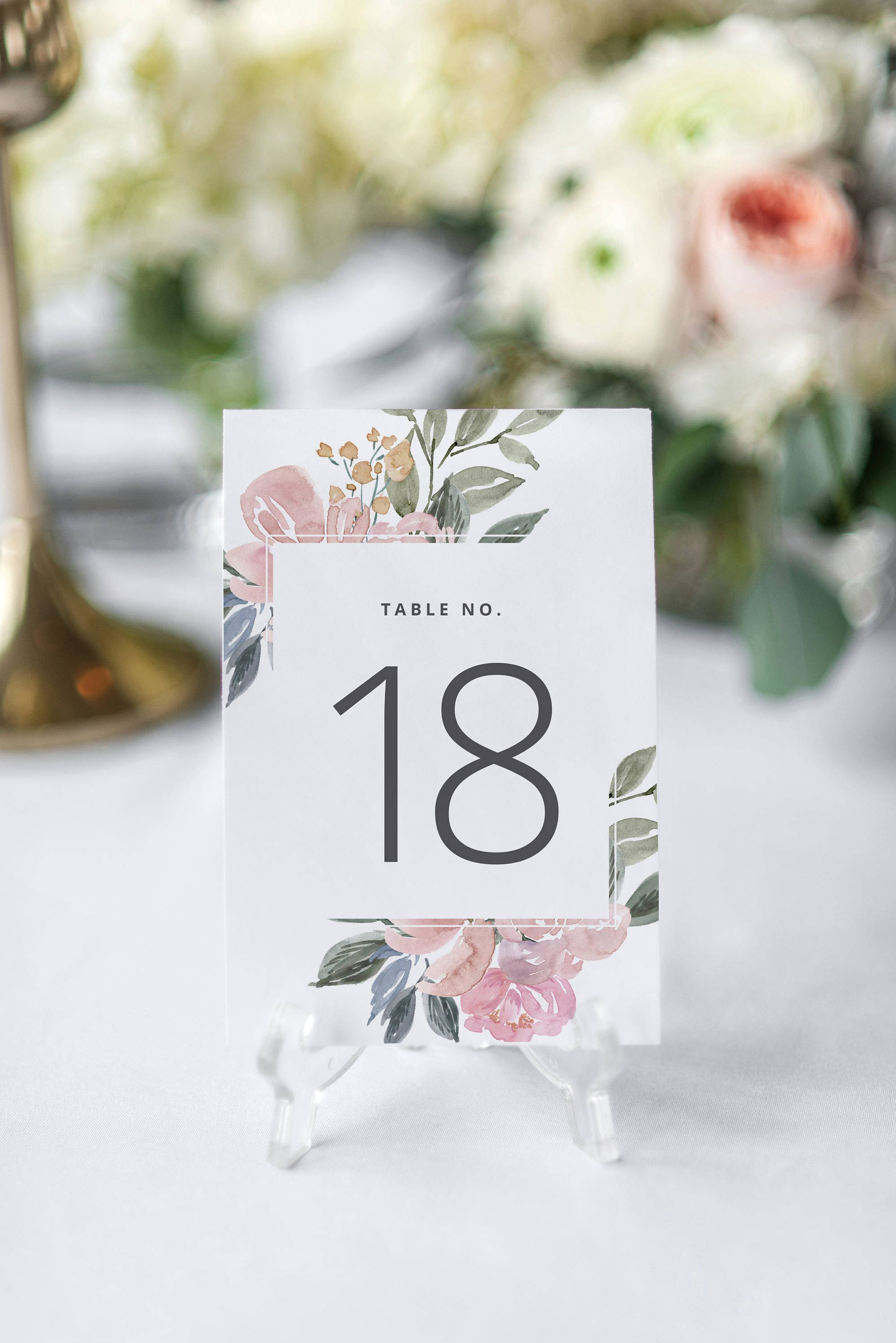 Blush Wedding Table Numbers, Printable Table Numbers, Floral Wedding ...