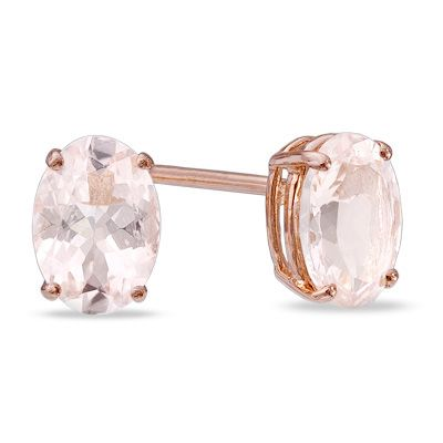 54c25dc79 Oval Morganite Stud Earrings in 14K Rose Gold | Williams Wedding ...