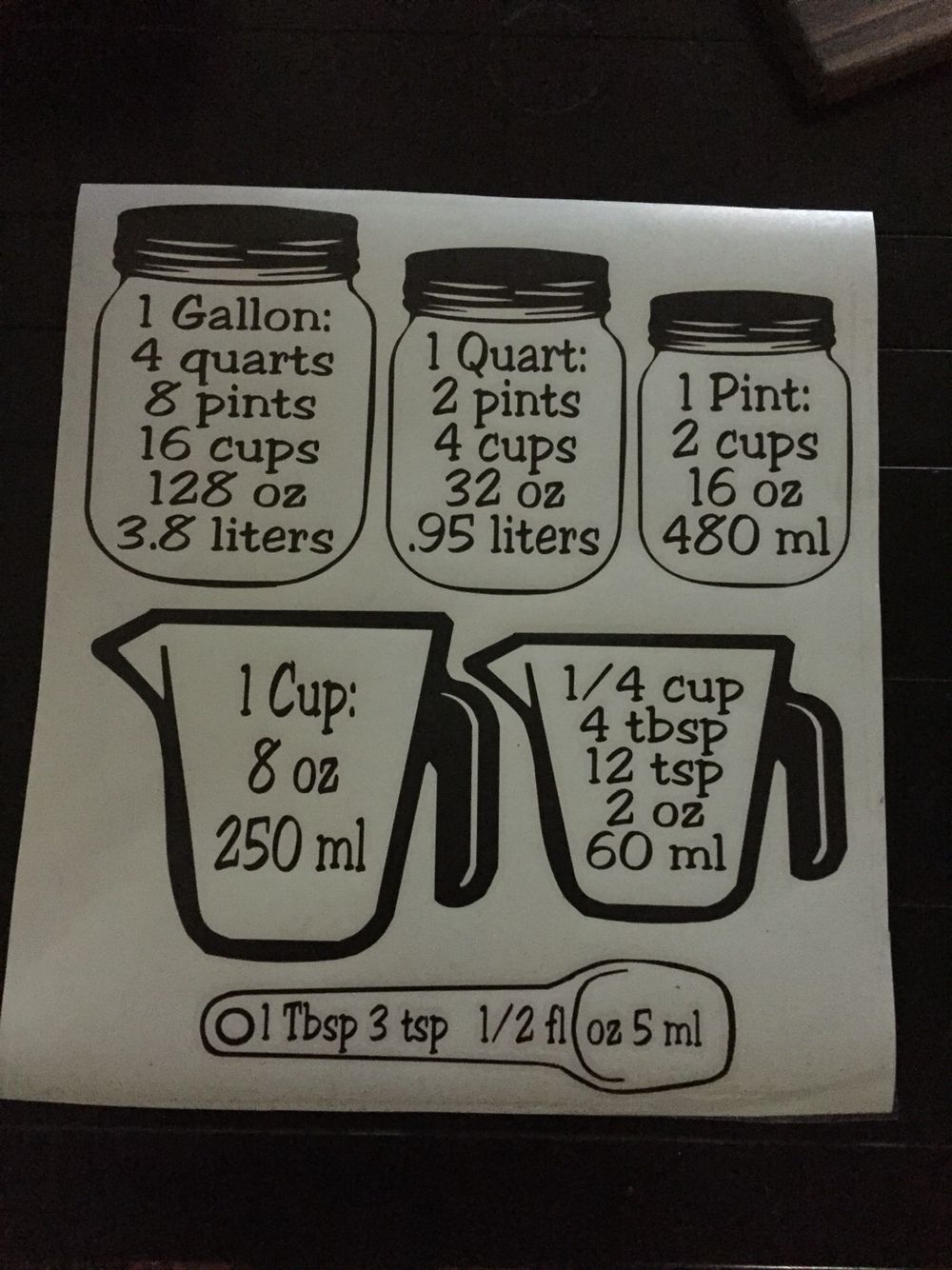 Measuring cup conversion vinyl decal