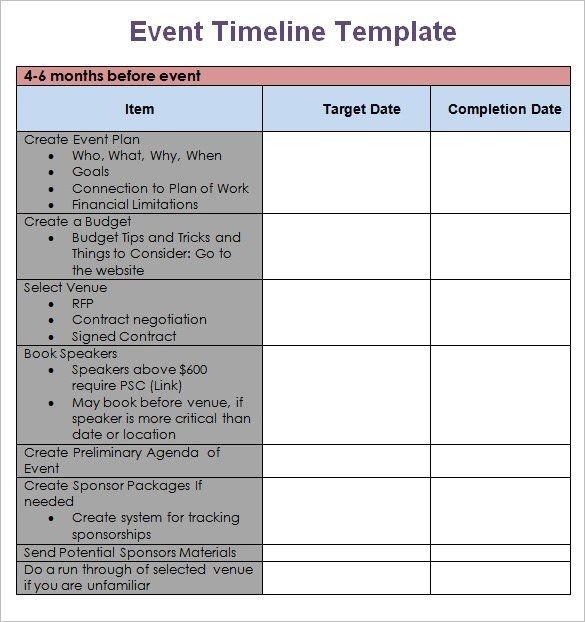 Event Planning Timeline Template 9 Event Timeline
