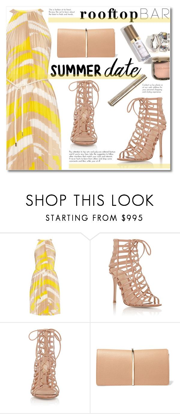 """""""BWY"""" by alialeola ❤ liked on Polyvore featuring MaxMara, Gianvito Rossi, Nina Ricci, white, yellow, beige, summerdate and rooftopbar"""