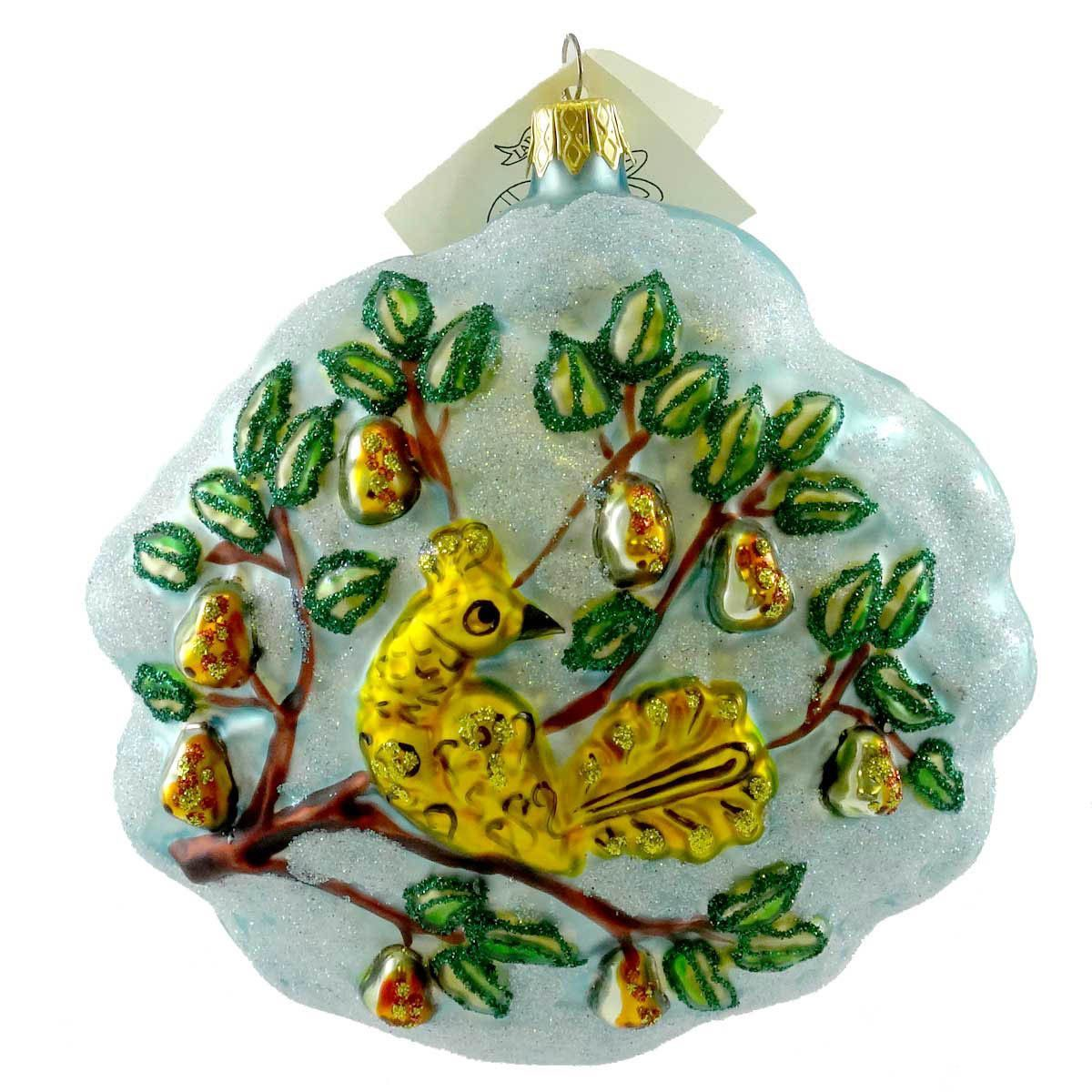 Larry Fraga PARTRIDGE IN A PAIR TREE Blown Glass Ornament ...