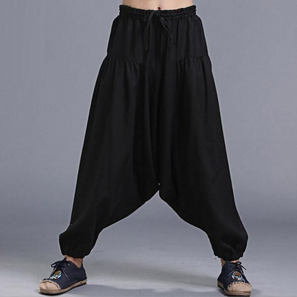 Men S Natural Linen Harem Pants Harem Pants Men Harem Pants Harem Pants Fashion
