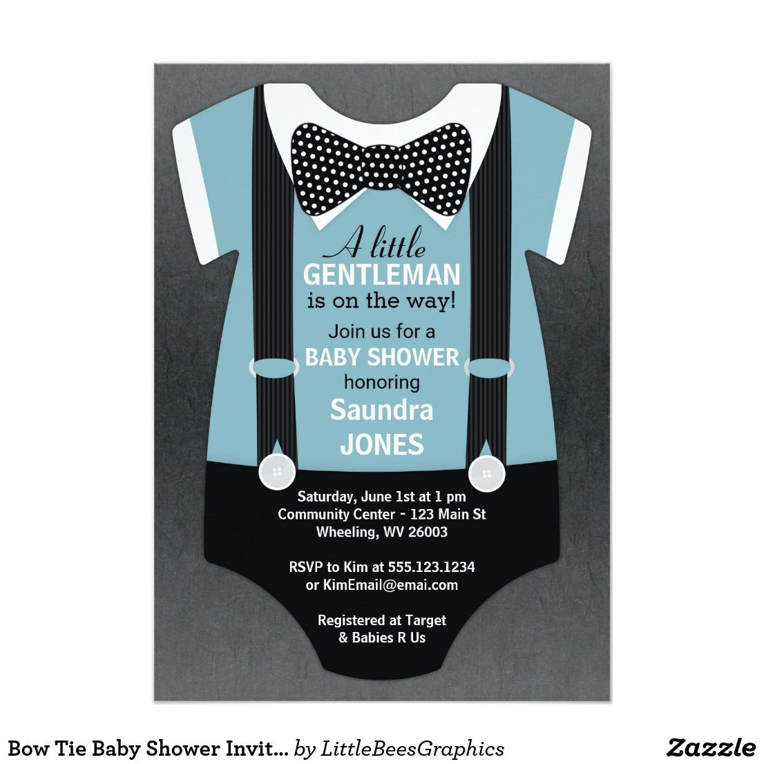 tie ribbon wedding invitation%0A Bow Tie Baby Shower Invitation  Suspender Invite