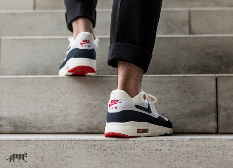 0b63854a80 Nike Air Max 1 Ultra 2.0 Flyknit - Sail / Obsidian - Wolf Grey / Red ...