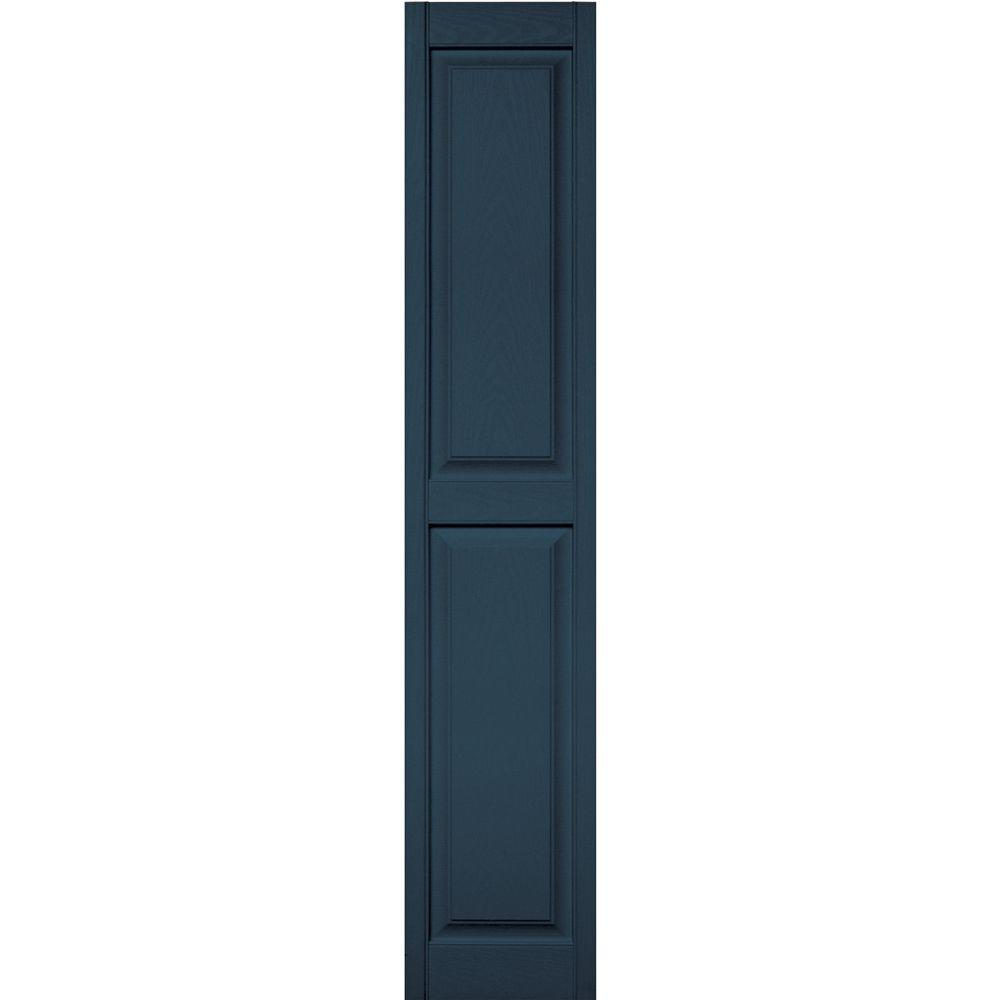 Builders Edge 15 In X 75 In Raised Panel Vinyl Exterior Shutters Pair In 036 Classic Blue Raised Panel Raised Panel Shutters Black Shutters