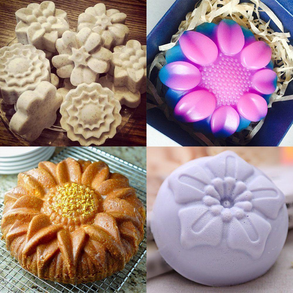 6cavity silicone flower shape cake molds yucool 3 packs