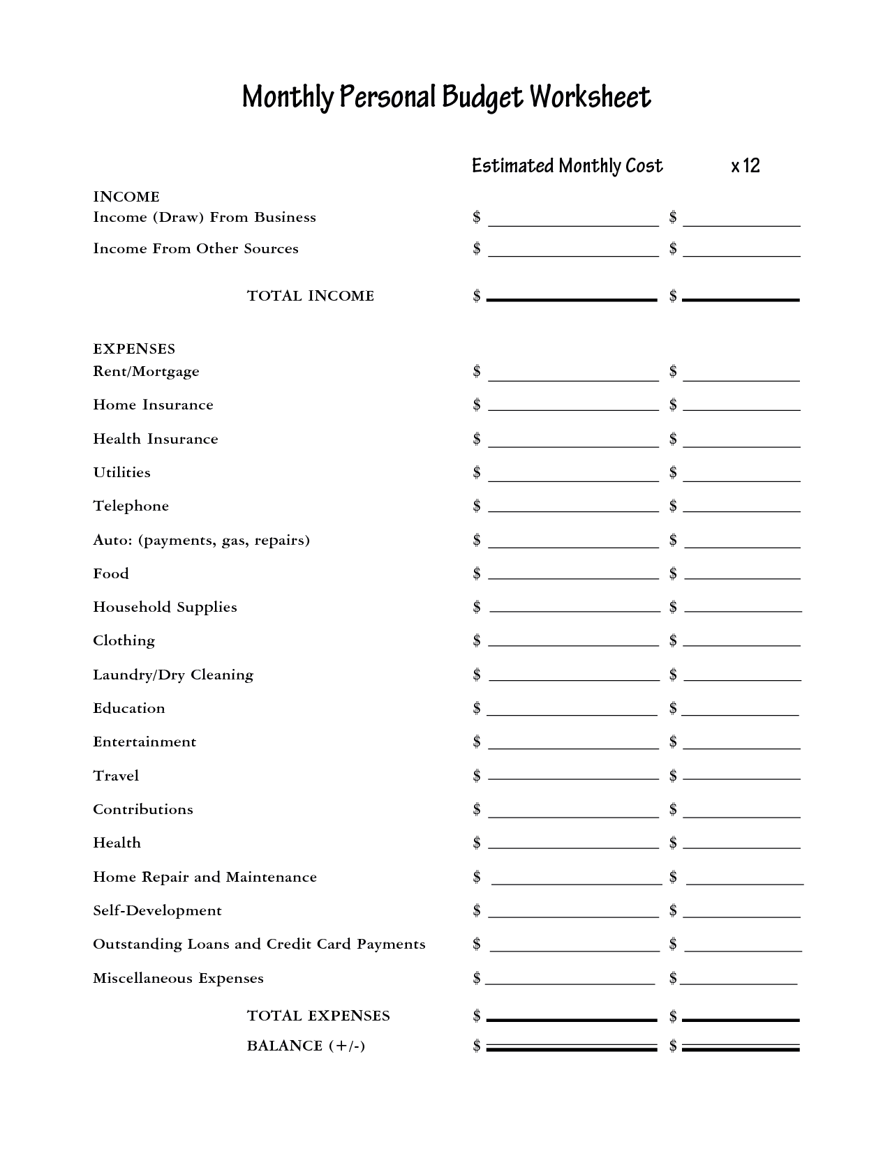 Blank Personal Monthly Budget Worksheet