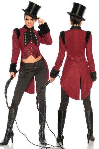 Burgundy Military Long Tail Coat   Circus costumes women
