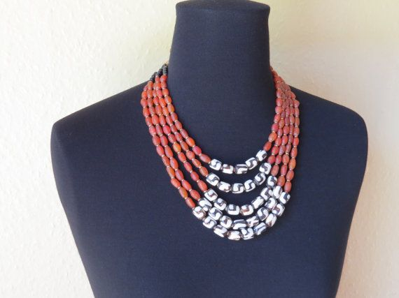 Batik, faux amber and giriama beads hand-crafted statement necklace.