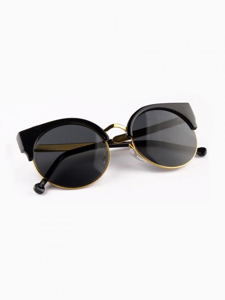 8fe7c592f60 Half Frame Angular Cat Eye Sunglasses