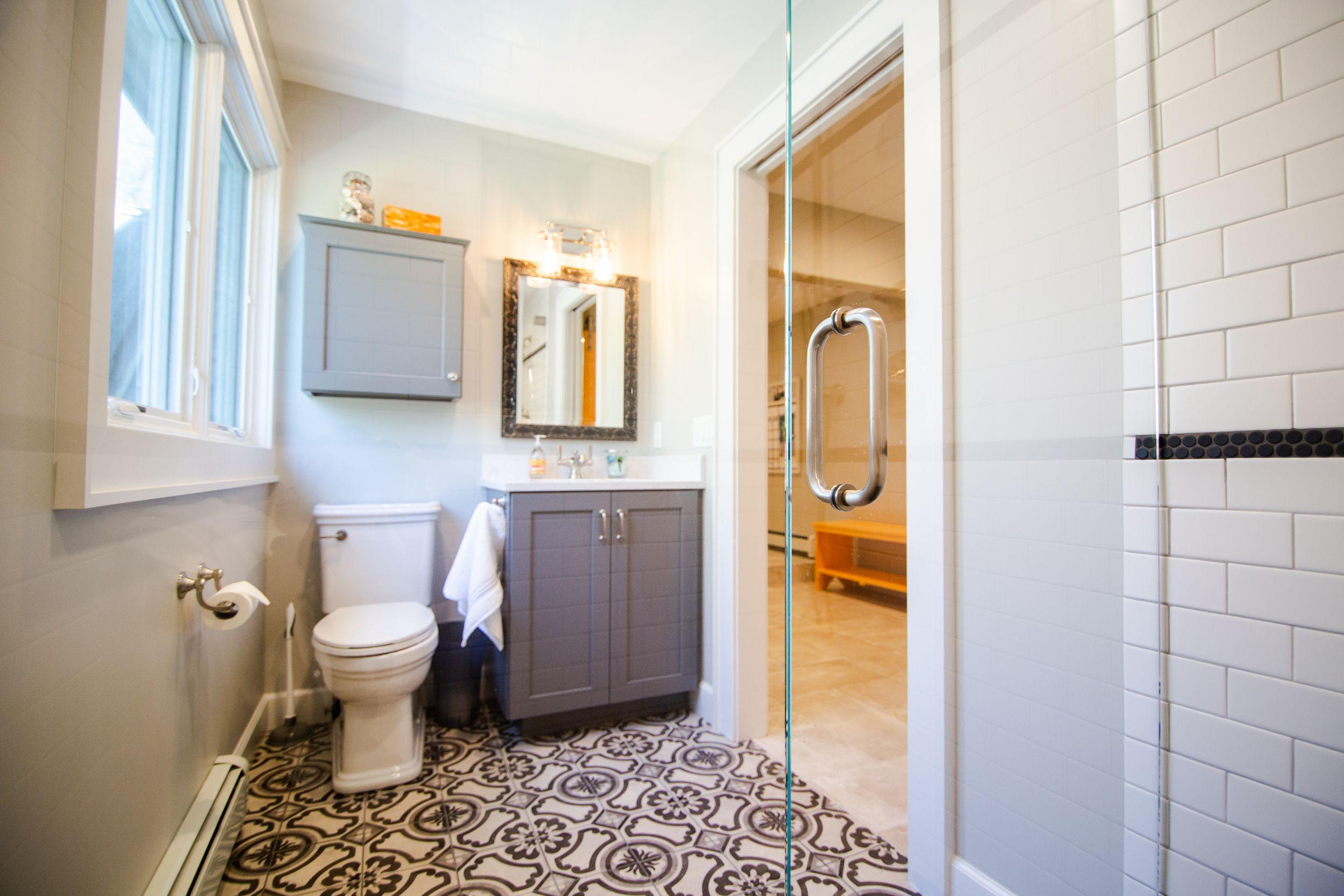 Small Bathroom Patterned Floor Tile Custom Mirror Vanity Mouser Cabinetry