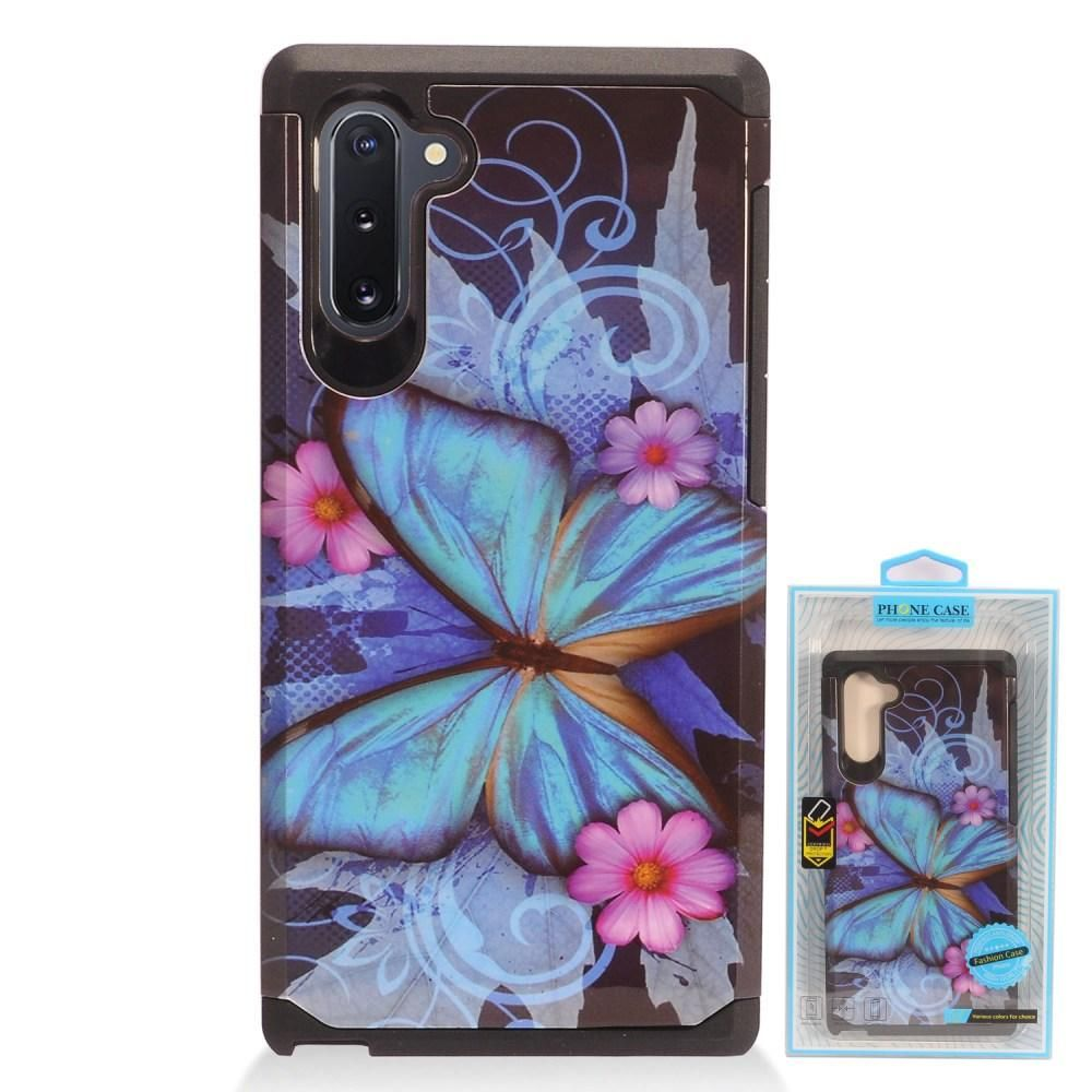 Blue Butterfly Design Slim Hybrid Rugged Case, Multi-Color for Samsung Galaxy Note 10