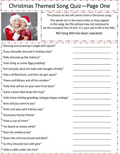 Image Result For Printable Christmas Carol Trivia Christmas
