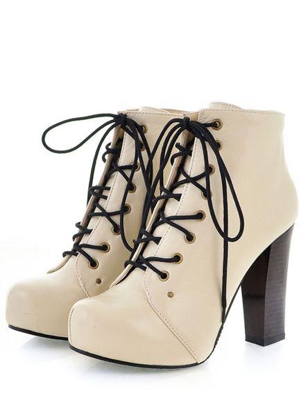 Beige Chunky Heel Shoes