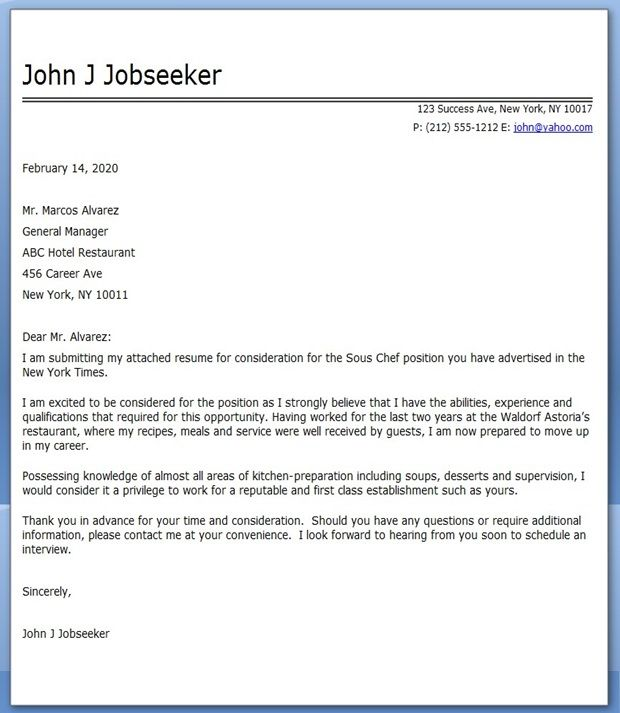 cover letter for chef position