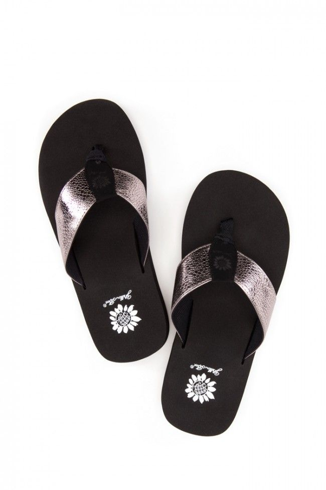 Yellowbox flip flops (Savannah) featuring pewter colored straps, available in sizes 6-11