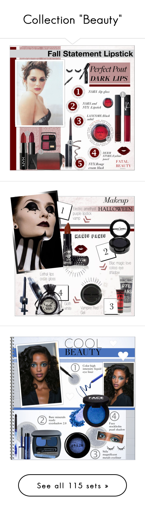 """""""Collection """"Beauty"""""""" by alves-nogueira ❤ liked on Polyvore featuring beauty, Bobbi Brown Cosmetics, NARS Cosmetics, NYX, Lancôme, Alexander Wang, Blinc, Manic Panic, Beauty and polyvoreeditorial"""