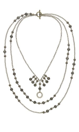 """Triple-Strand Necklace with Antiqued Gold-Plated Brass Beads, Antiqued Brass-Finished """"Pewter"""" Drops and Antiqued Brass Steel Chain"""