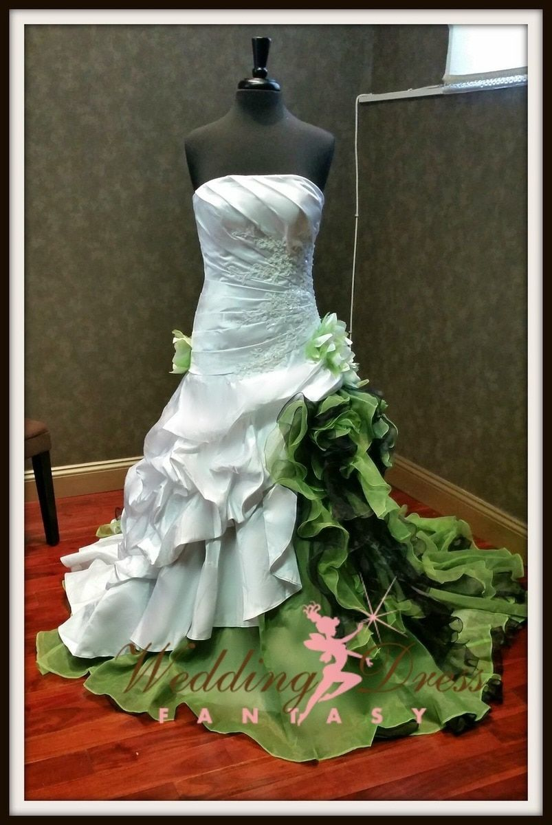 Green And White Wedding Dress Green Wedding Dresses Custom