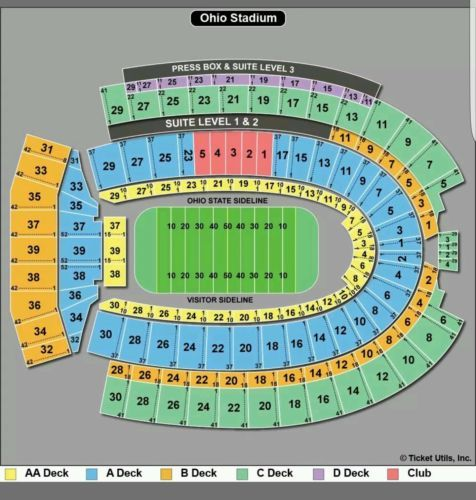 Tickets Row 1 Ohio State Vs Indiana 23aa On The 30 Yard Line
