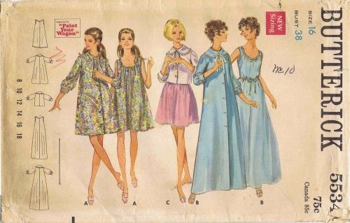 1960s Misses Nightgown Robe Bed Jacket Butterick 5534 Vintage Sewing Pattern Size 16 Bust 38