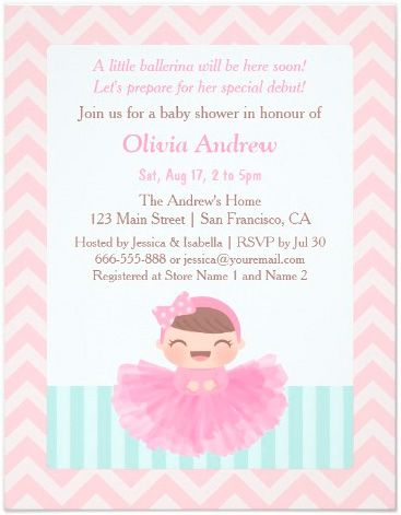 Lovely Shop Chevron Ballerina Girl Baby Shower Invitations Created By RustyDoodle.