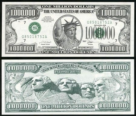 Banknote One Million Dollars Atlanta 2001 From Year 2001 With