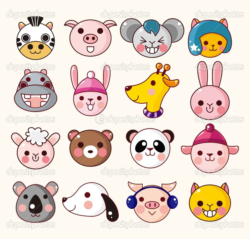 Cartoon Baby Animals Cartoon Animal Face Icons Stock Vector