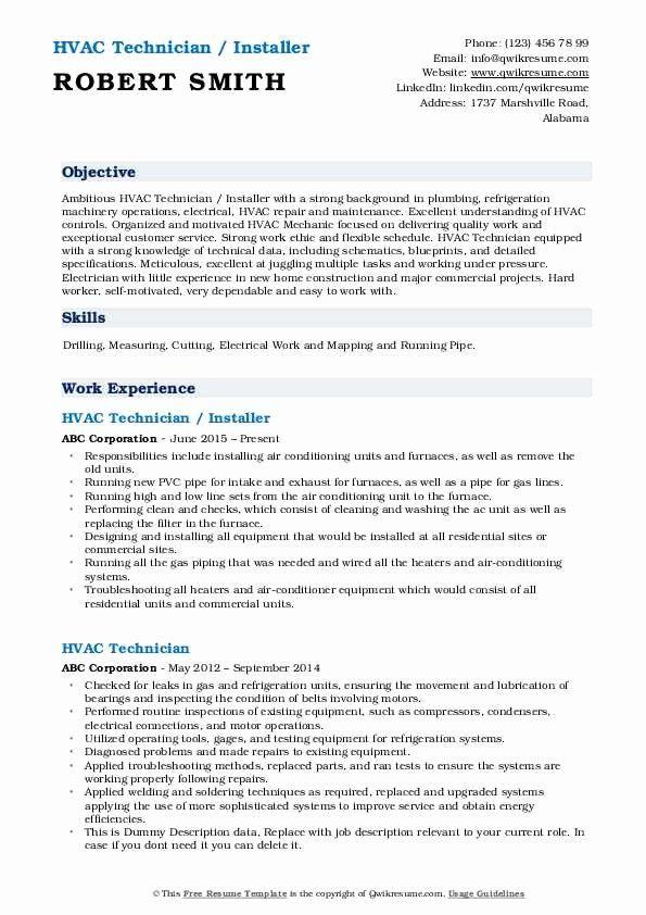 Hvac Technician Job Description Resume Inspirational Hvac Technician Resume Samples Hvac Technician Counselor Job Description Job Description