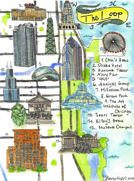The Loop, Chicago, illustrated map by .laurenelysefineart.