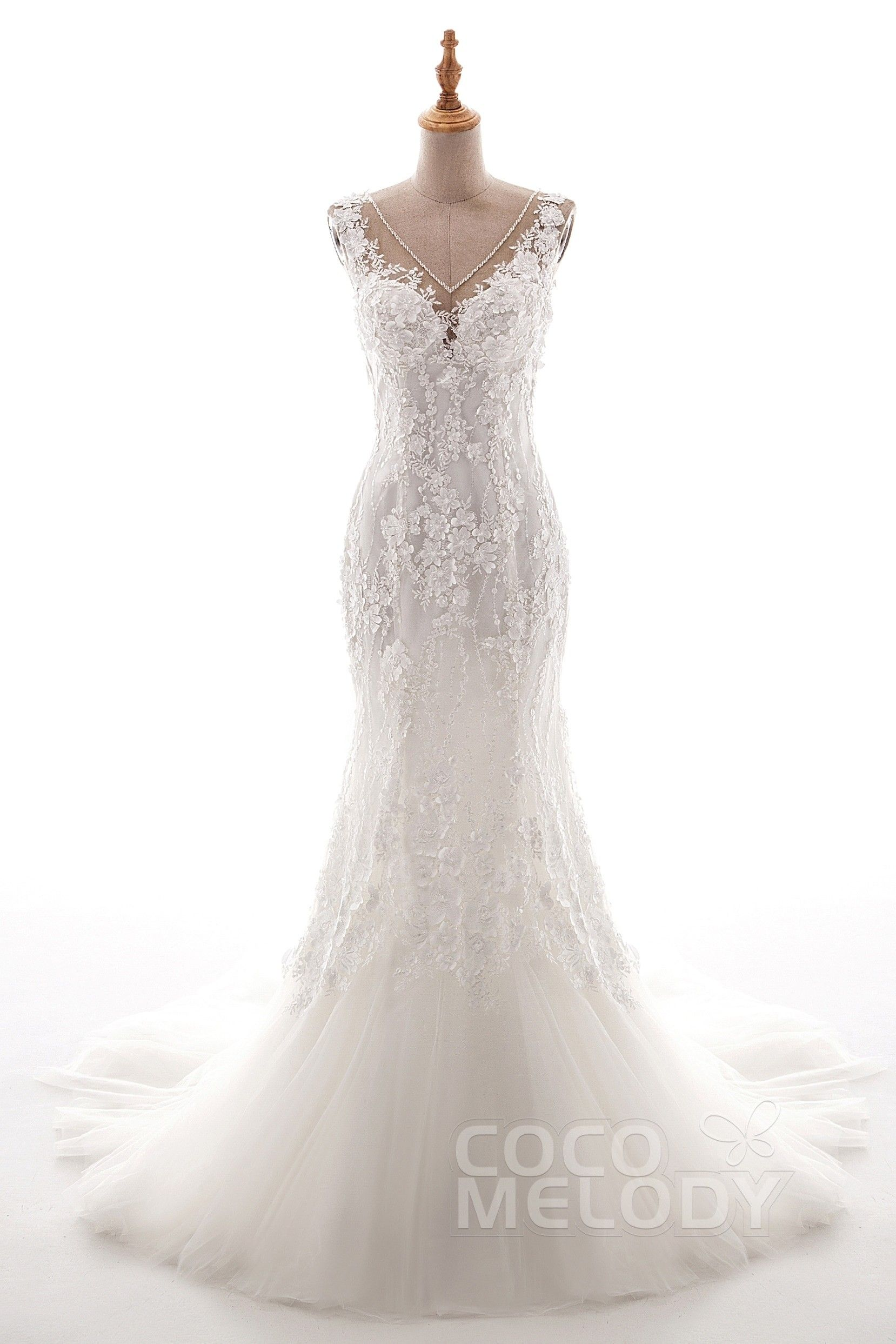 Lace wedding dress with train  TrumpetMermaid Court Train Tulle and Lace Wedding Dress LD  F