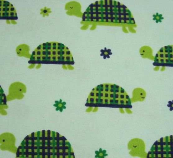 Flannel Fabric  Turtles Blue  1 yard  100% Cotton by SnappyBaby