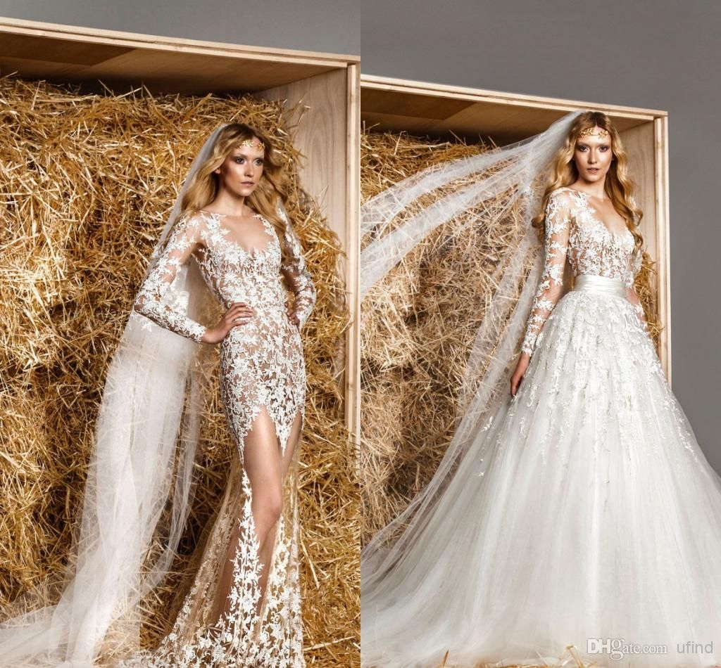 Modest Zuhair Murad Bridal Gowns Removable Train A line