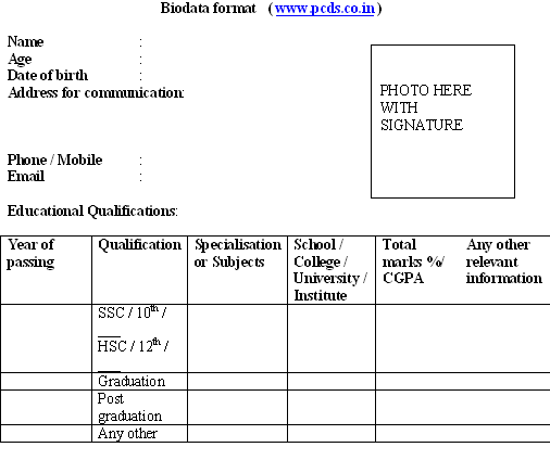 Biodata Format For Fresher Teacher Job Fresher Resume Format – Teachers Biodata Format