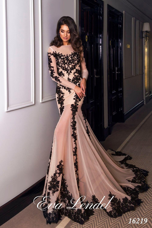 Sexy Design Lace Up Schwarz Spitze Appliques Abendkleider Aus Dubai ...