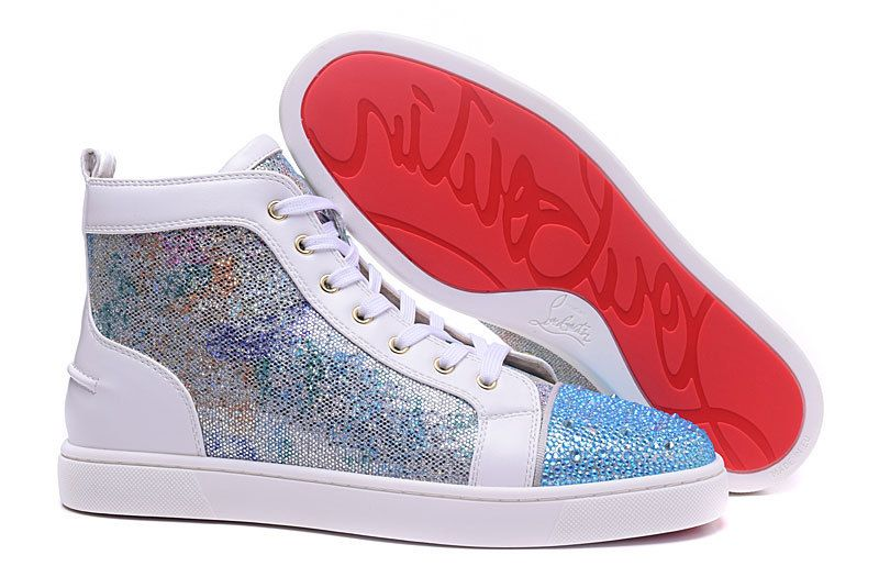cee362359 Christian Louboutin White Silver Glitter Blue Diamond High Sneakers ...