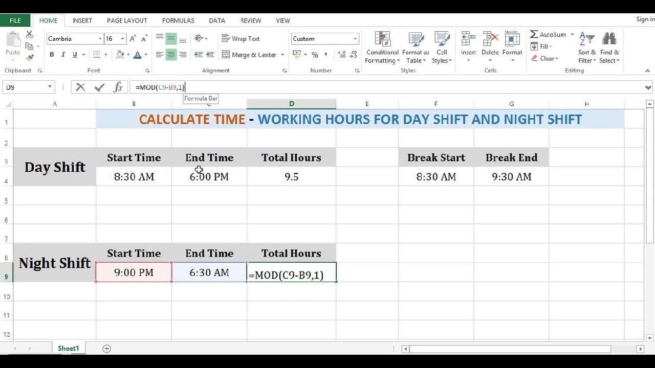 Calculate Time in Excel - Working hours for Day Shift and