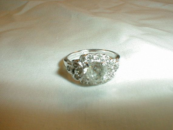 edwardian sterling silver engagement ring by qualityvintagejewels, $125.00