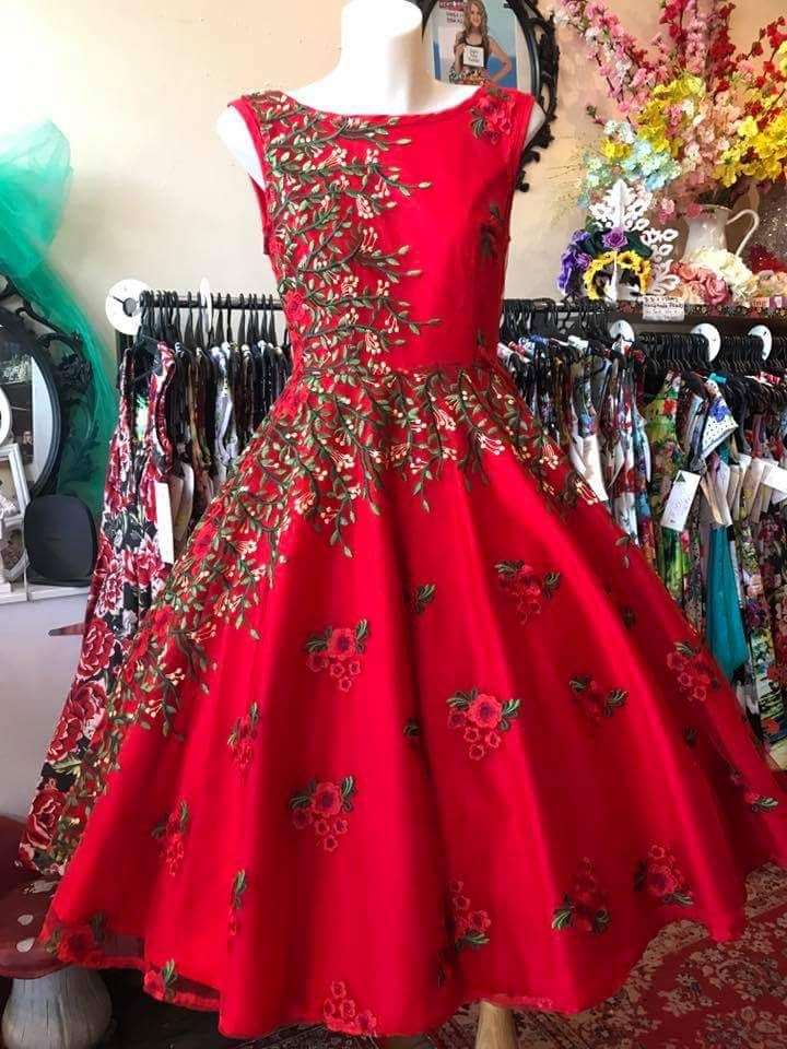 a45b1b4f62d1 Unique Christmas Outfits for Teenage Girls that are Simply Wow. Santa Red  Embroidered Ball Gown For Teenagers