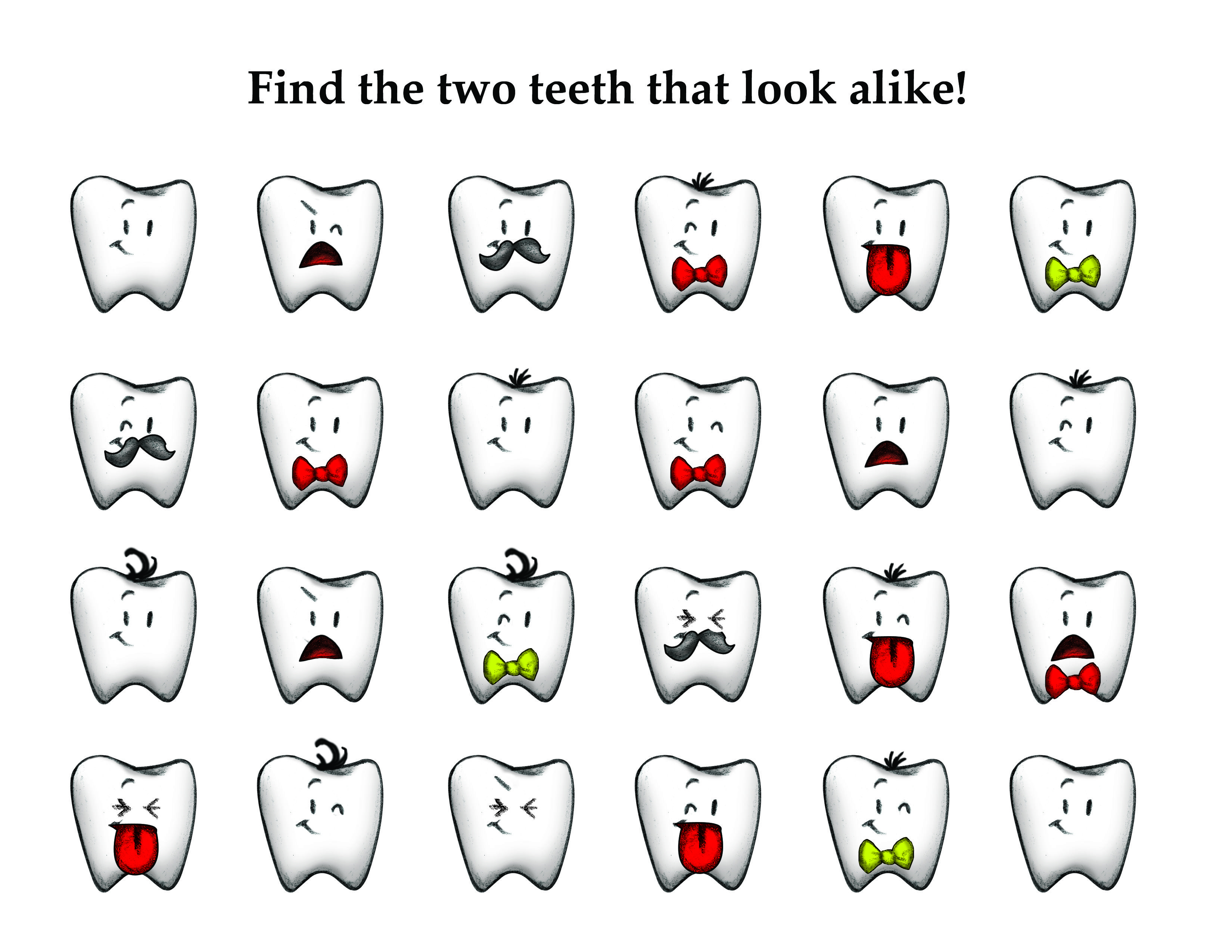 Tooth Match Game For Kids In Honor Of February Dental