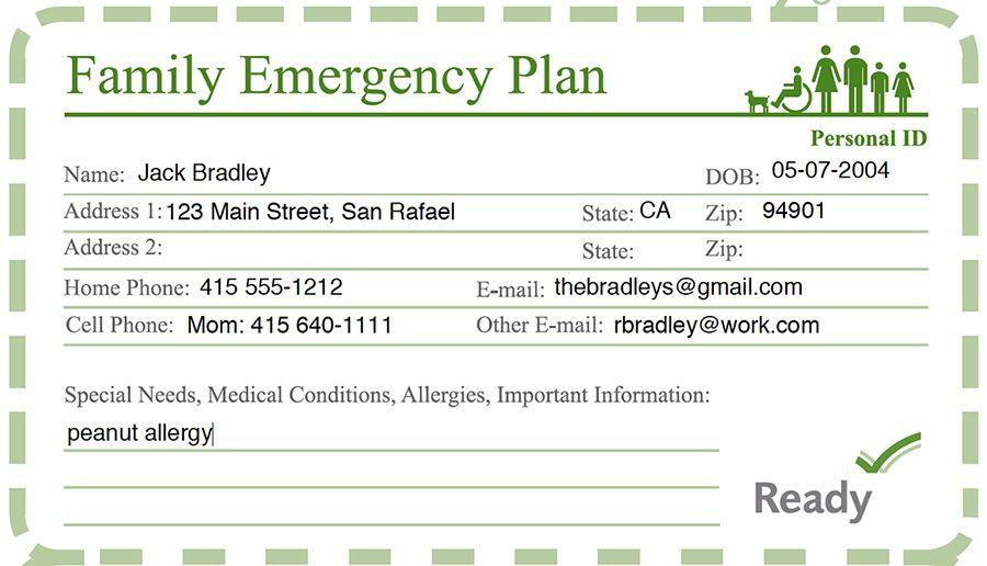 emergency card sample for school Pinterest Disaster - evacuation plan templates