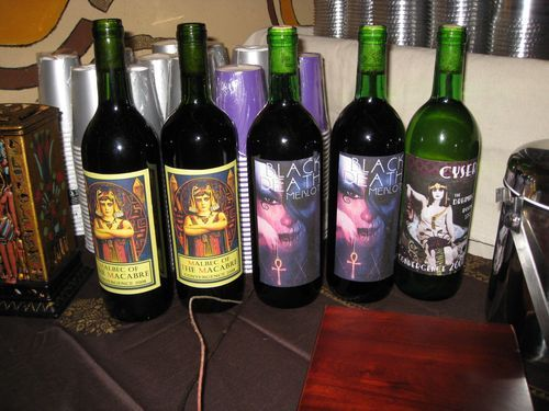 Homemade wines with special made labels for a cohesive theme. It's all about the details.