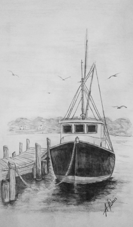 Old fishing boat drawing lessons tippek rajzoláshoz szkeccsrajzolás realisztikus rajzok szénrajzok