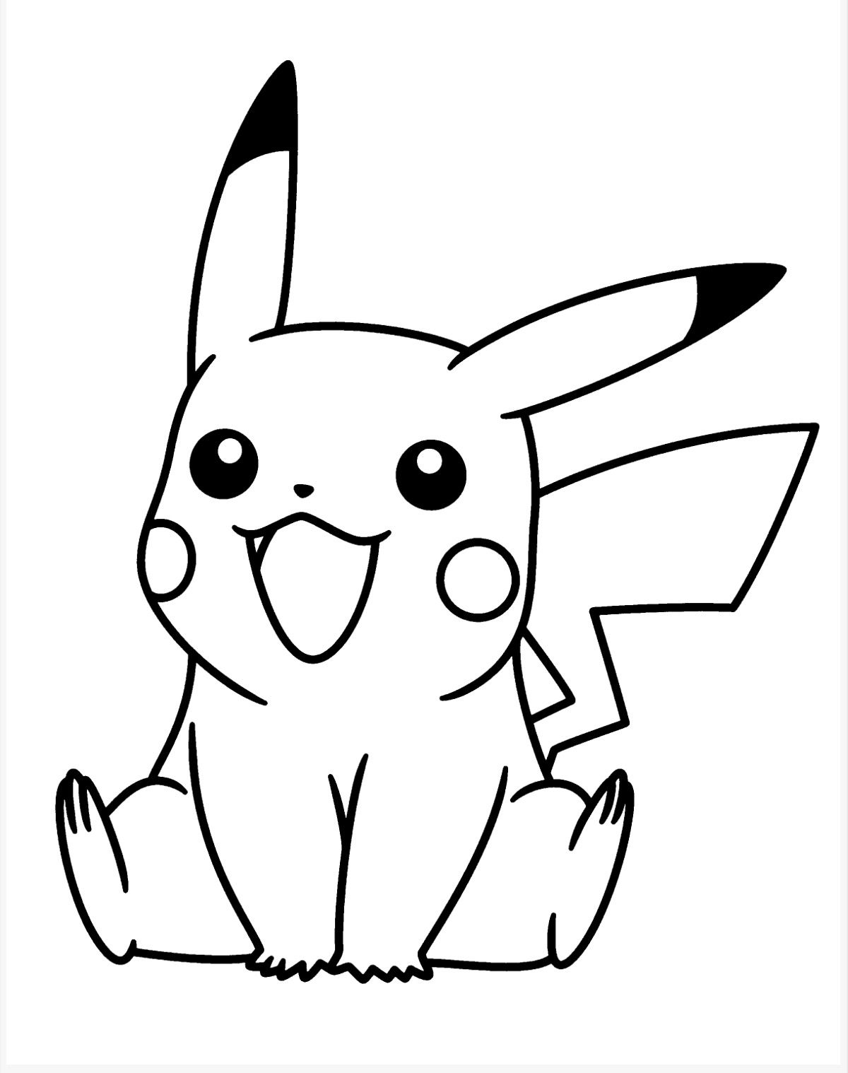 pikachu black and white Colouring Pages